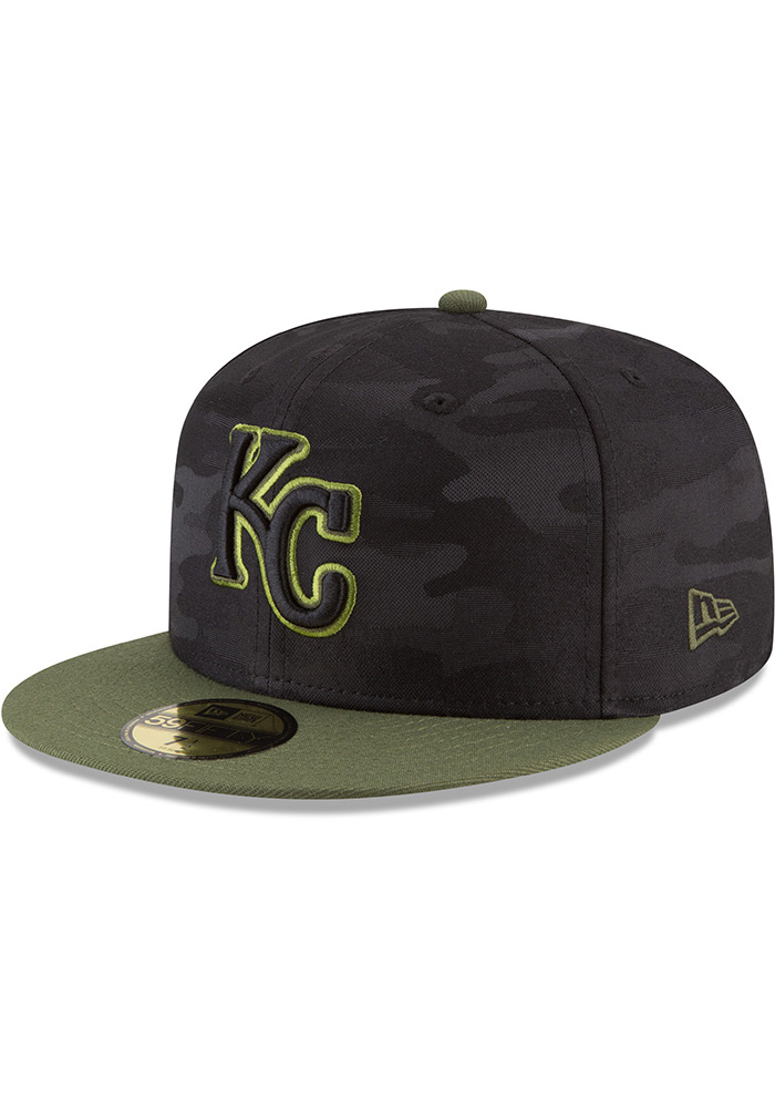 New Era Kansas City Royals Mens Black 2018 Memorial Day 59FIFTY Fitted Hat - Image 1