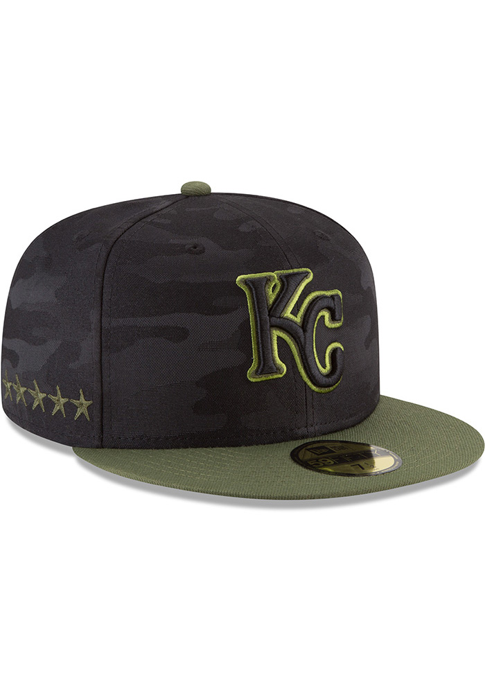 New Era Kansas City Royals Mens Black 2018 Memorial Day 59FIFTY Fitted Hat - Image 2