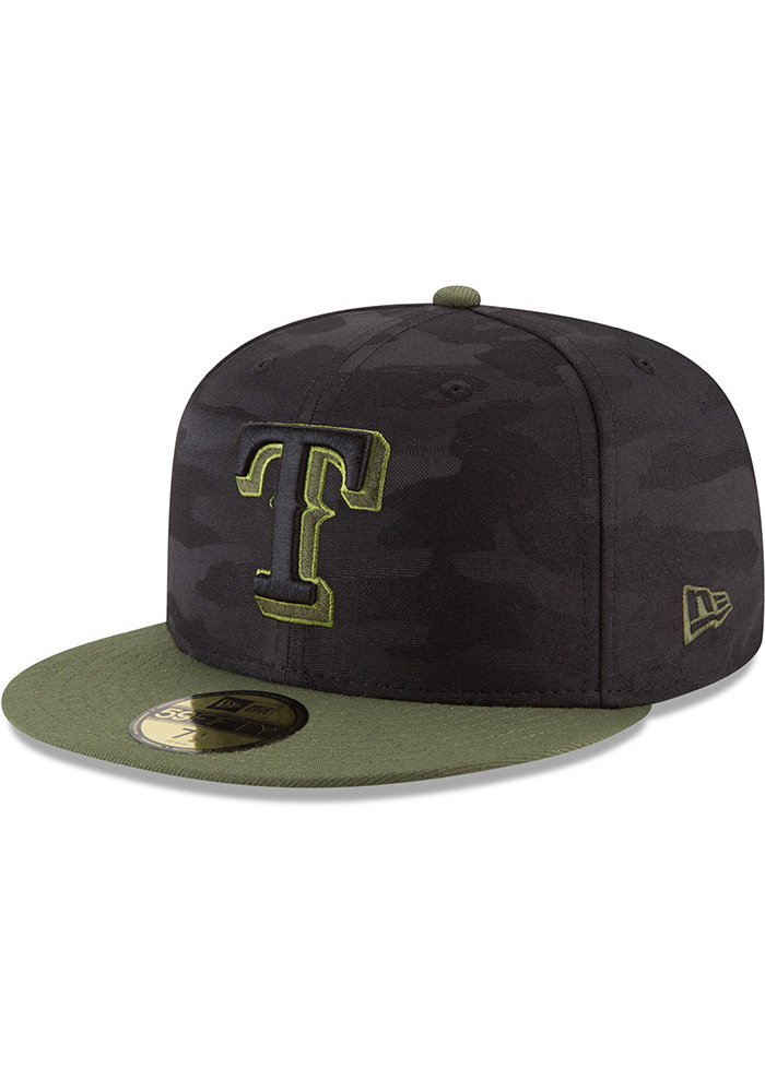 New Era Texas Rangers Mens Black 2018 Memorial Day 59FIFTY Fitted Hat - Image 1