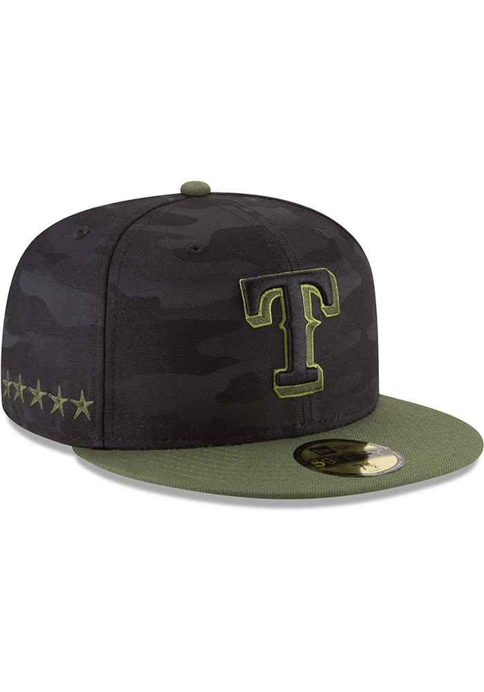 New Era Texas Rangers Mens Black 2018 Memorial Day 59FIFTY Fitted Hat - Image 2