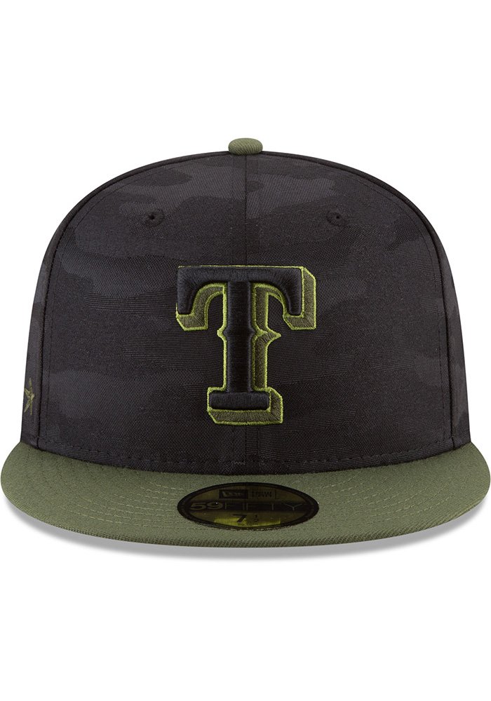 New Era Texas Rangers Mens Black 2018 Memorial Day 59FIFTY Fitted Hat - Image 3