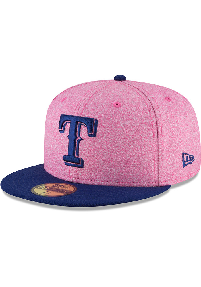 New Era Texas Rangers Mens Pink 2018 Mothers Day 59FIFTY Fitted Hat - Image 1