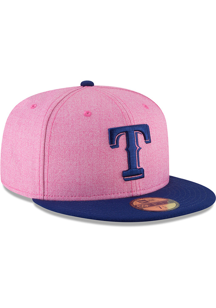 New Era Texas Rangers Mens Pink 2018 Mothers Day 59FIFTY Fitted Hat - Image 2