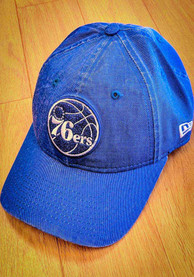New Era Philadelphia 76ers Womens Blue Rugged Glisten LS 9TWENTY Adjustable Hat