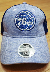 New Era Philadelphia 76ers Womens Blue Spaced Dye Mesh LS 9TWENTY Adjustable Hat