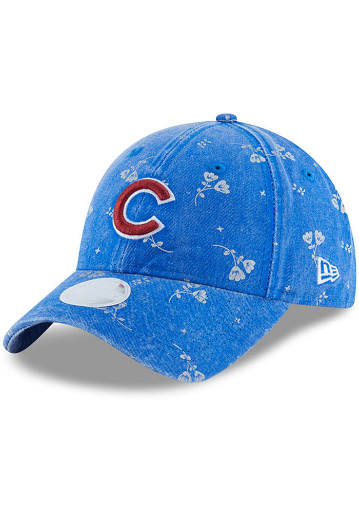 New Era Chicago Cubs Navy Blue Floral Shine 9TWENTY Womens Adjustable Hat - Image 1