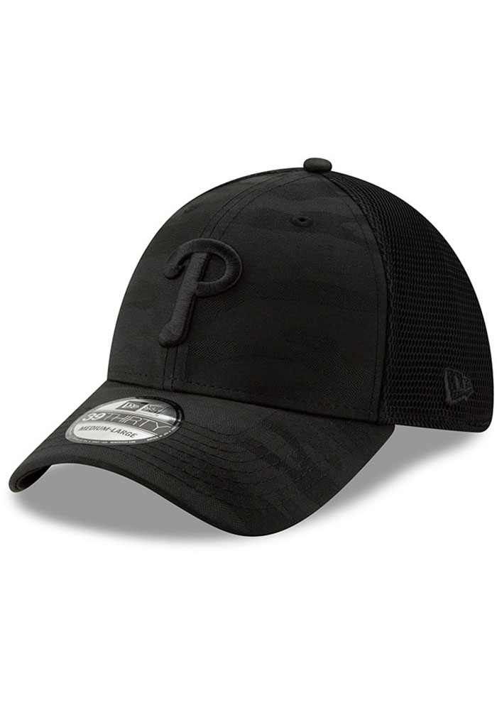 buy popular 0a775 2bdc3 New Era Philadelphia Phillies Mens Black Camo Front Neo 39THIRTY Flex Hat -  Image 1