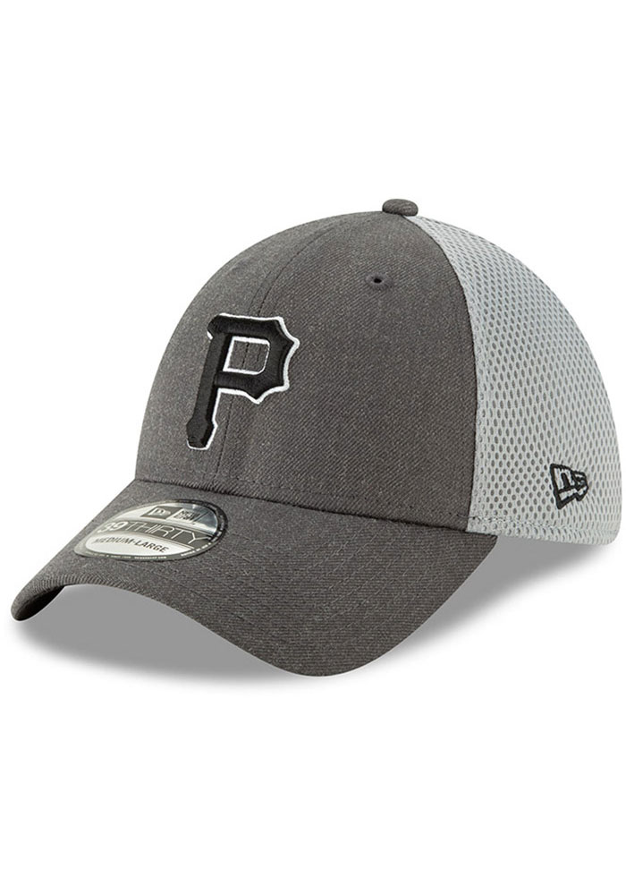 New Era Pittsburgh Pirates Mens Grey Heather Front Neo 39THIRTY Flex Hat - Image 1