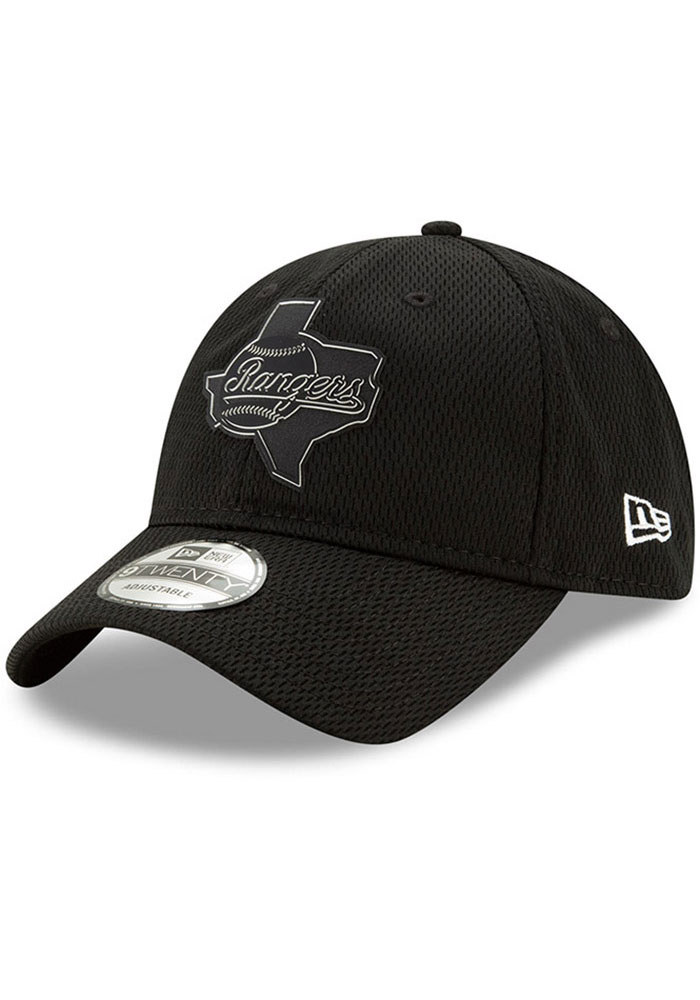 New Era Texas Rangers 2019 Clubhouse 9TWENTY Adjustable Hat - Black - Image 1