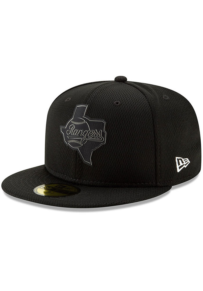 New Era Texas Rangers Mens Black 2019 Clubhouse 59FIFTY Fitted Hat - Image 1