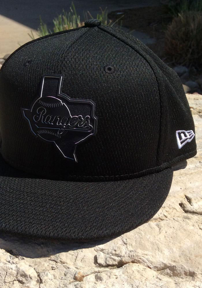 New Era Texas Rangers Mens Black 2019 Clubhouse 59FIFTY Fitted Hat - Image 7