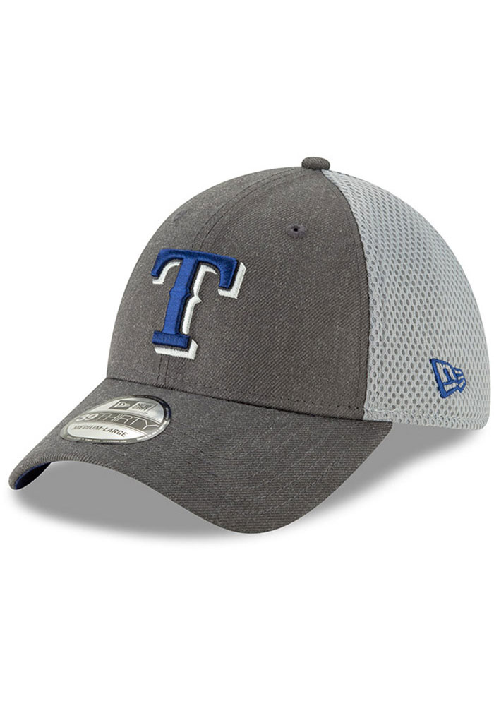 New Era Texas Rangers Mens Grey Heather Front Neo 39THIRTY Flex Hat - Image 1