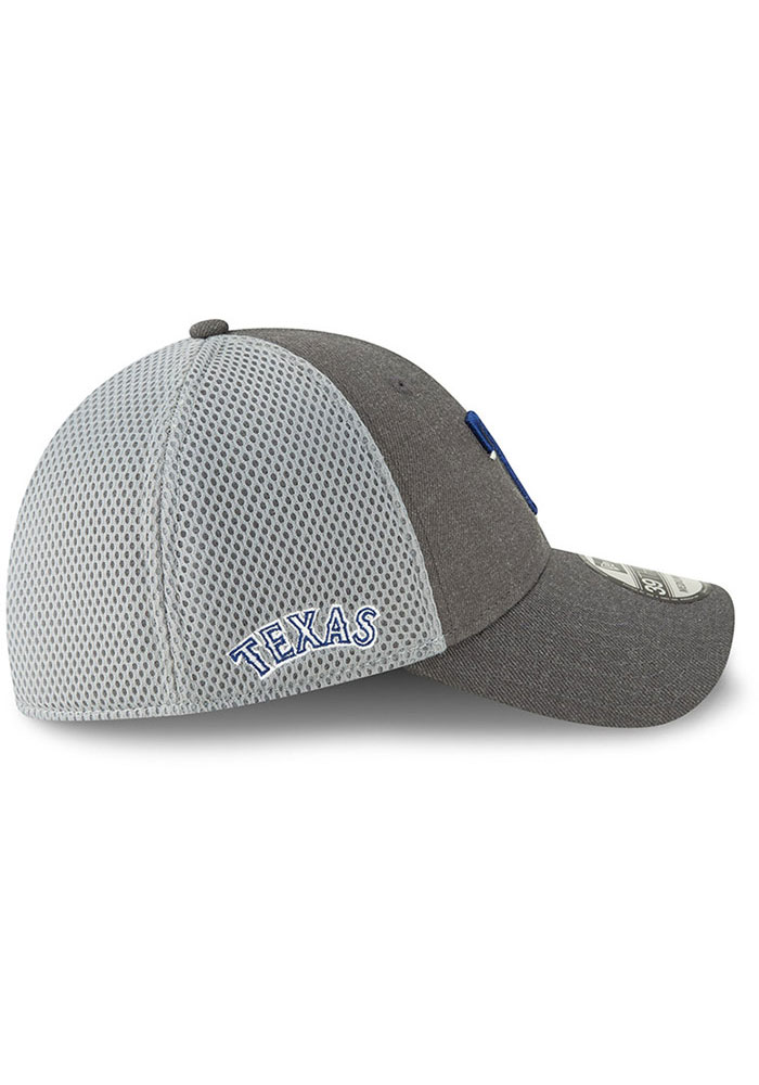 New Era Texas Rangers Mens Grey Heather Front Neo 39THIRTY Flex Hat - Image 6