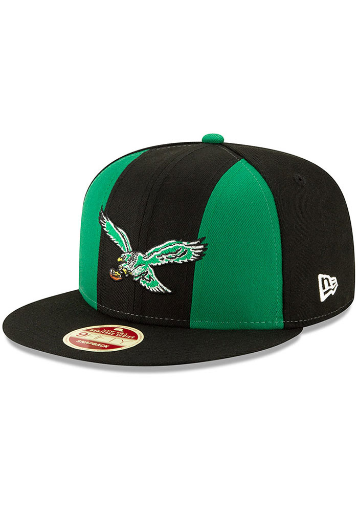 New Era Philadelphia Eagles Black Retro Paneled Team Pick 9FIFTY Mens Snapback Hat - Image 1