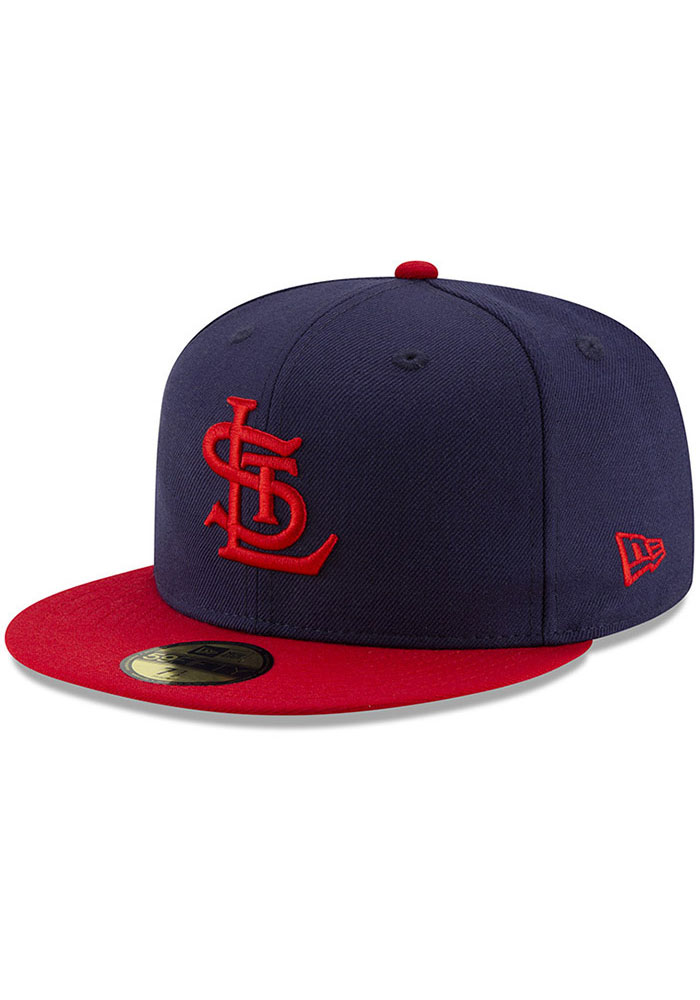 New Era St Louis Cardinals Mens Navy Blue 1942 World Series Side Patch 59FIFTY Fitted Hat - Image 1