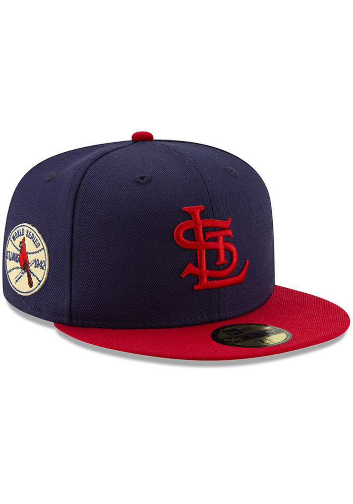 New Era St Louis Cardinals Mens Navy Blue 1942 World Series Side Patch 59FIFTY Fitted Hat - Image 2