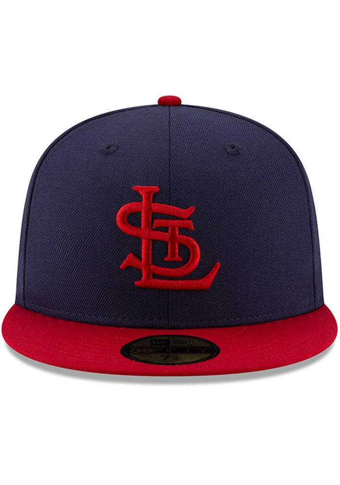 New Era St Louis Cardinals Mens Navy Blue 1942 World Series Side Patch 59FIFTY Fitted Hat - Image 3