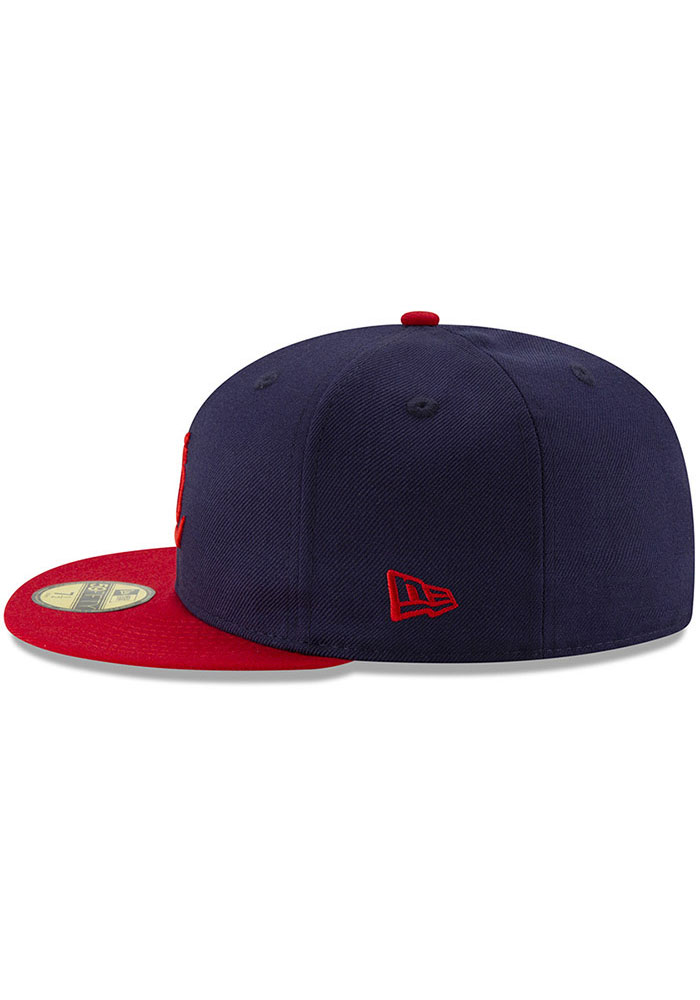 New Era St Louis Cardinals Mens Navy Blue 1942 World Series Side Patch 59FIFTY Fitted Hat - Image 4