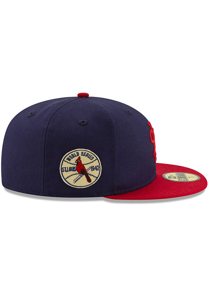 New Era St Louis Cardinals Mens Navy Blue 1942 World Series Side Patch 59FIFTY Fitted Hat - Image 6