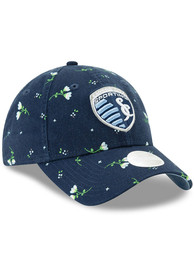 New Era Sporting Kansas City Womens Navy Blue Blossom LS 9TWENTY Adjustable Hat