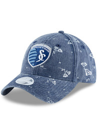 New Era Sporting Kansas City Womens Navy Blue Floral Shine 9TWENTY Adjustable Hat