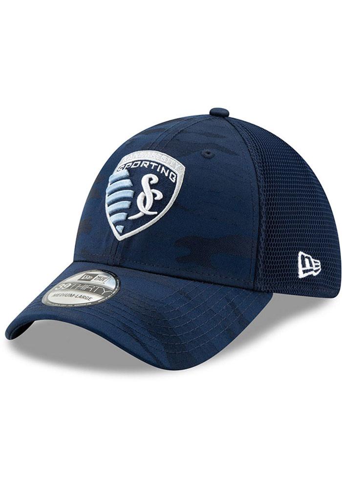 New Era Sporting Kansas City Mens Navy Blue Camo Front Neo 39 THIRTY Flex Hat - Image 1