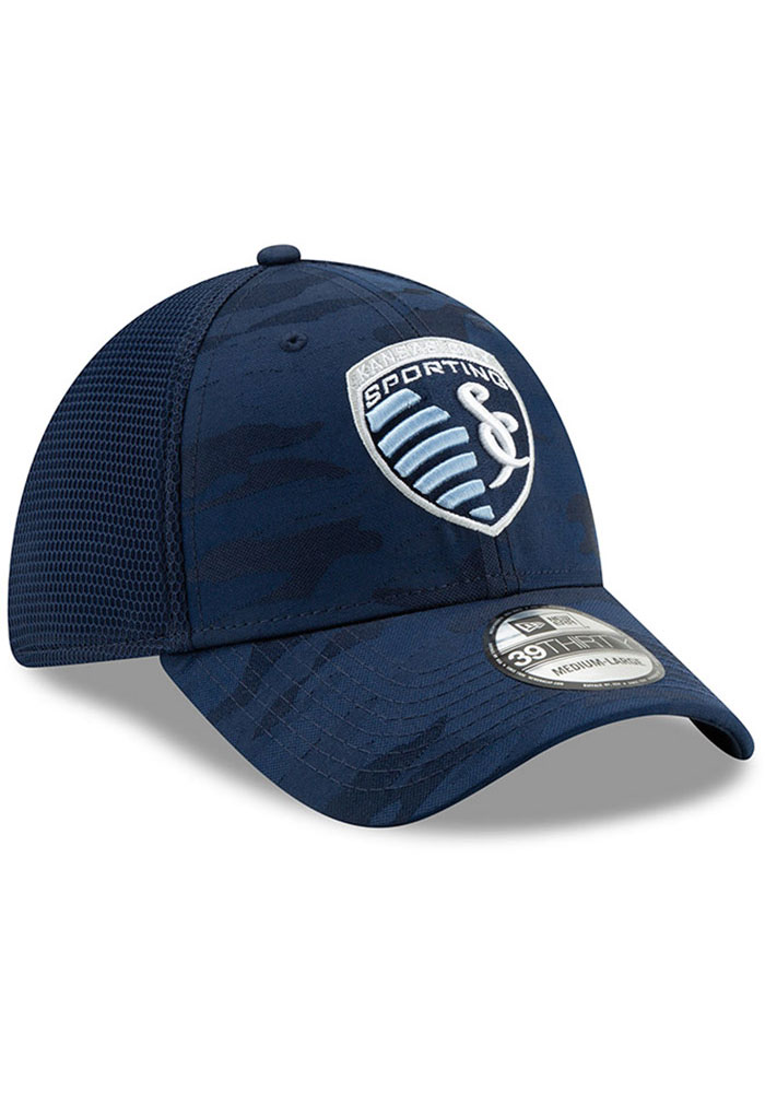 New Era Sporting Kansas City Mens Navy Blue Camo Front Neo 39 THIRTY Flex Hat - Image 2