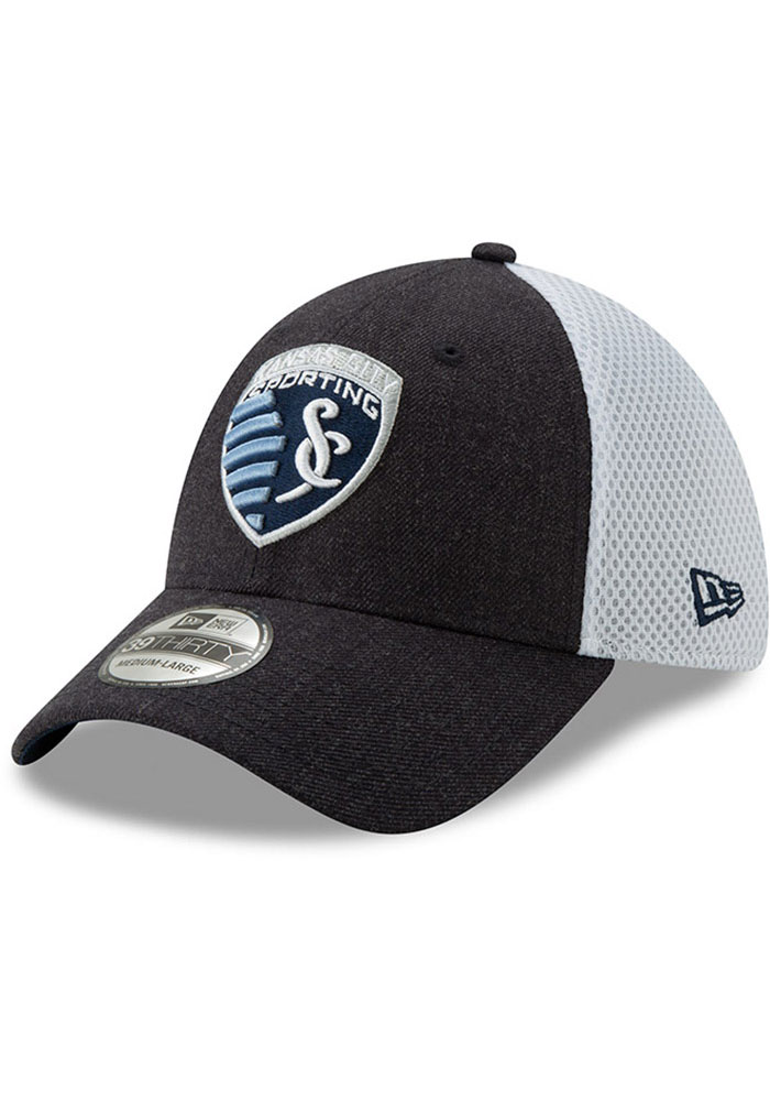 New Era Sporting Kansas City Mens Navy Blue Heather Front Neo 39THIRTY Flex Hat - Image 1