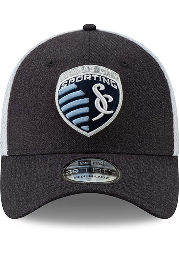 New Era Sporting Kansas City Mens Navy Blue Heather Front Neo 39THIRTY Flex Hat - Image 3