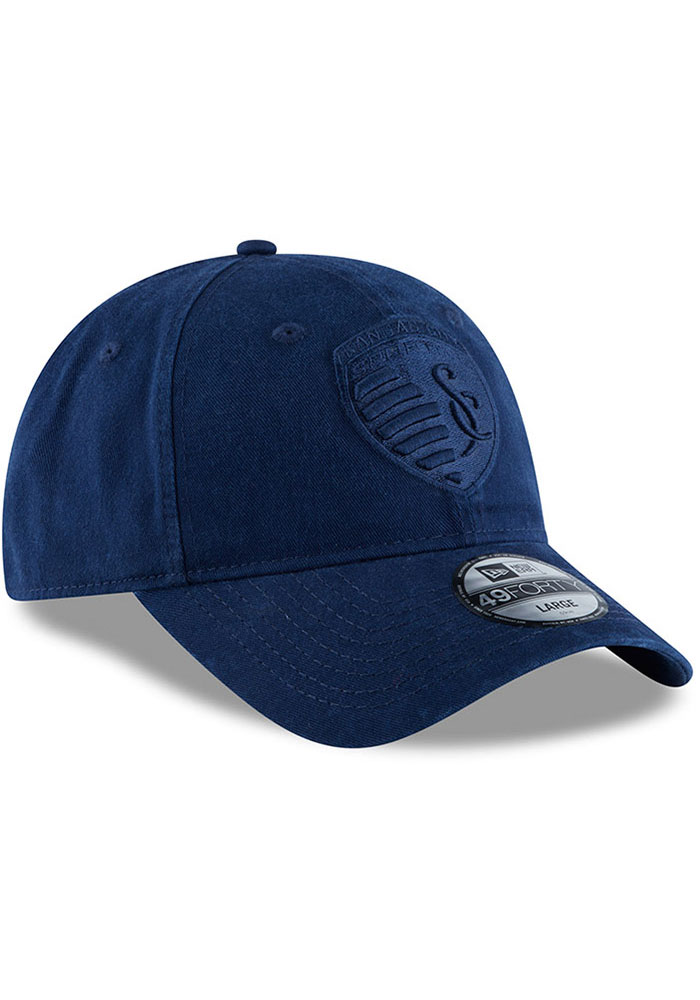 New Era Sporting Kansas City Mens Navy Blue NE Core Fit Tonal 49FORTY Fitted Hat - Image 2