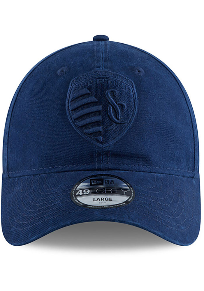 New Era Sporting Kansas City Mens Navy Blue NE Core Fit Tonal 49FORTY Fitted Hat - Image 3