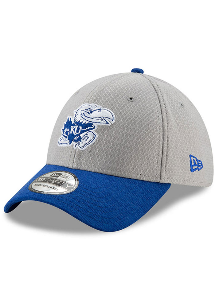 8262ba4a27c New Era Kansas Jayhawks Mens Grey Popped Shadow 39THIRTY Flex Hat - Image 1