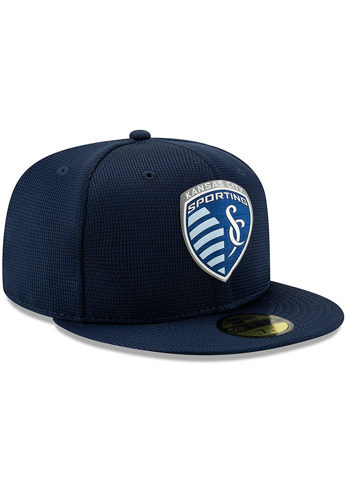 New Era Sporting Kansas City Mens Navy Blue 2019 Official 59FIFTY Fitted Hat - Image 2