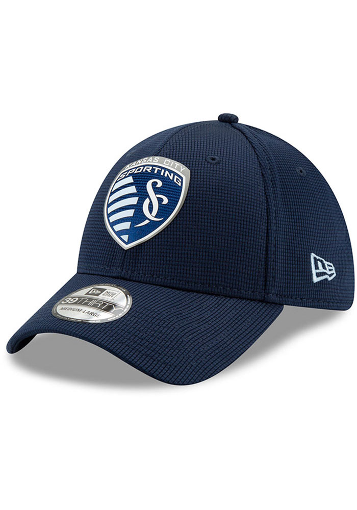 New Era Sporting Kansas City Mens Navy Blue 2019 Official 39THIRTY Flex Hat - Image 1