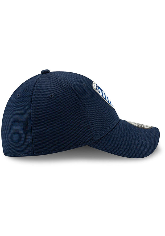 New Era Sporting Kansas City Mens Navy Blue 2019 Official 39THIRTY Flex Hat - Image 4