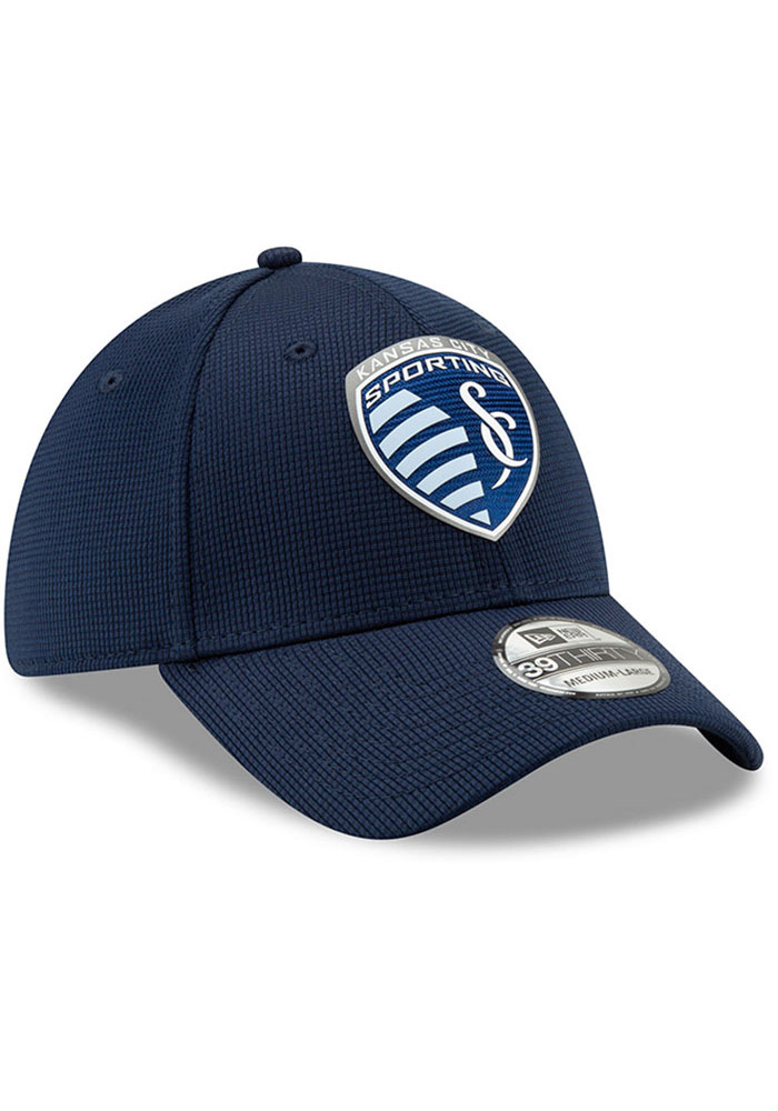 New Era Sporting Kansas City Mens Navy Blue 2019 Official 39THIRTY Flex Hat - Image 5
