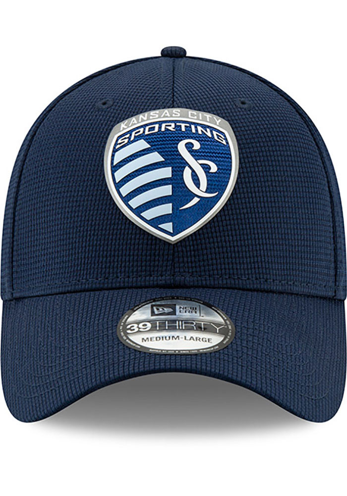 New Era Sporting Kansas City Mens Navy Blue 2019 Official 39THIRTY Flex Hat - Image 6