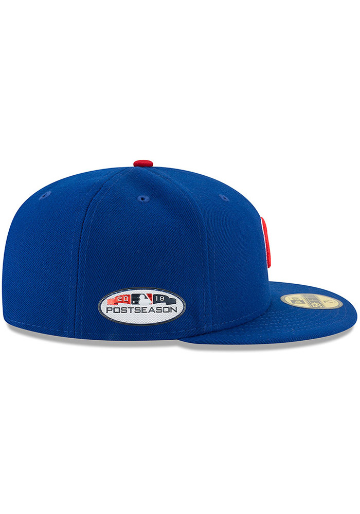 New Era Chicago Cubs Mens Blue 2018 Postseason Side Patch 59FIFTY Fitted Hat  - Image 6 1225863d2