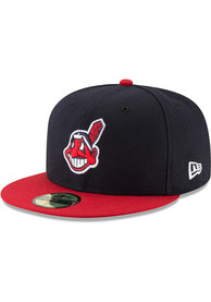 5b532883e7a2a5 Cleveland Indians New Era Navy Blue 2018 Postseason Side Patch Home AC  59FIFTY Fitted Hat