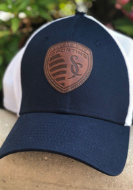 New Era Sporting Kansas City Navy Blue Patched Mesh 39THIRTY Flex Hat