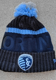 New Era Sporting Kansas City Navy Blue Bossed Cuff Knit Knit Hat