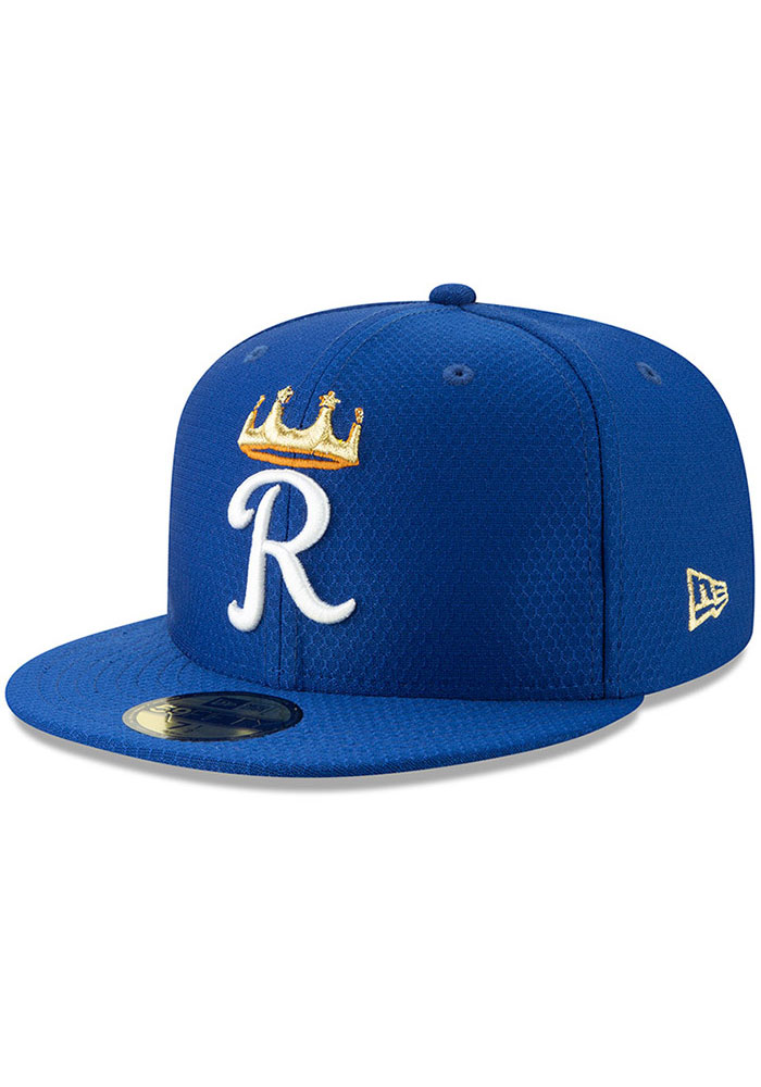 New Era Kansas City Royals Mens Blue Batting Practice 2019 59FIFTY Fitted Hat - Image 1