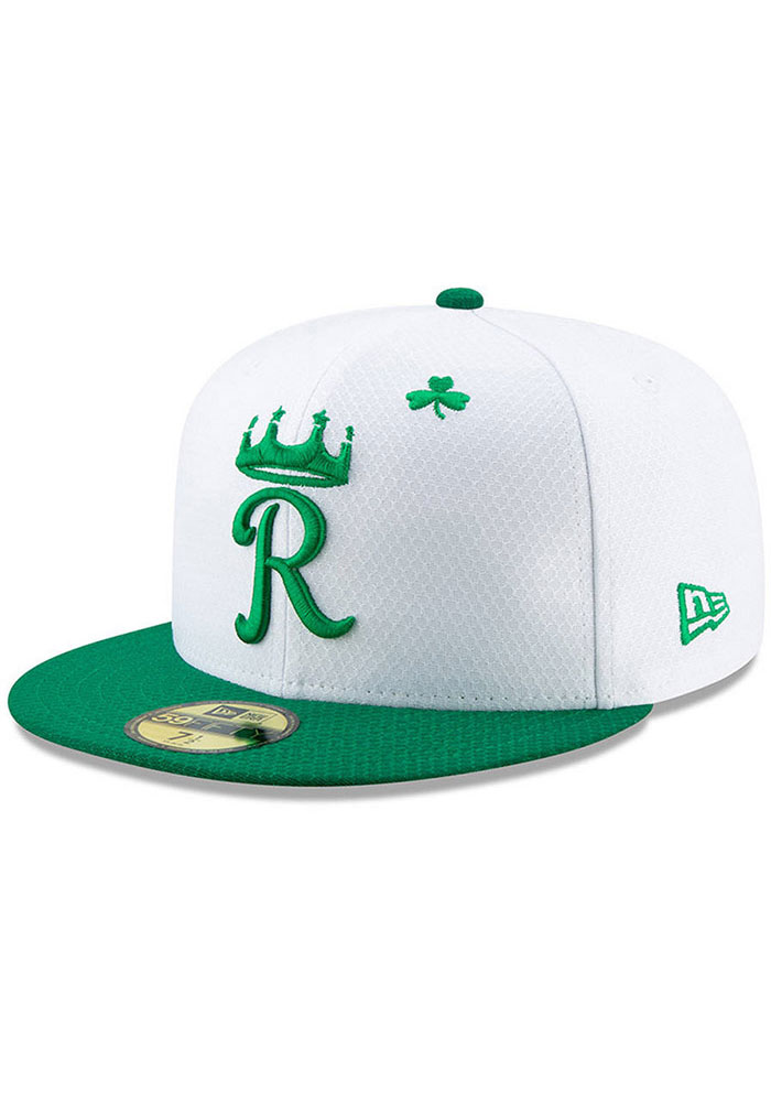 New Era Kansas City Royals Mens White St. Patty's Day 2019 59FIFTY Fitted Hat - Image 1