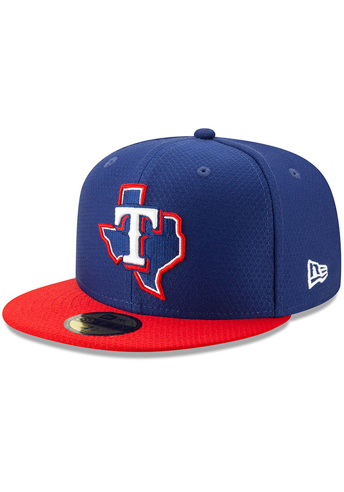 New Era Texas Rangers Mens Blue Batting Practice 2019 59FIFTY Fitted Hat - Image 1