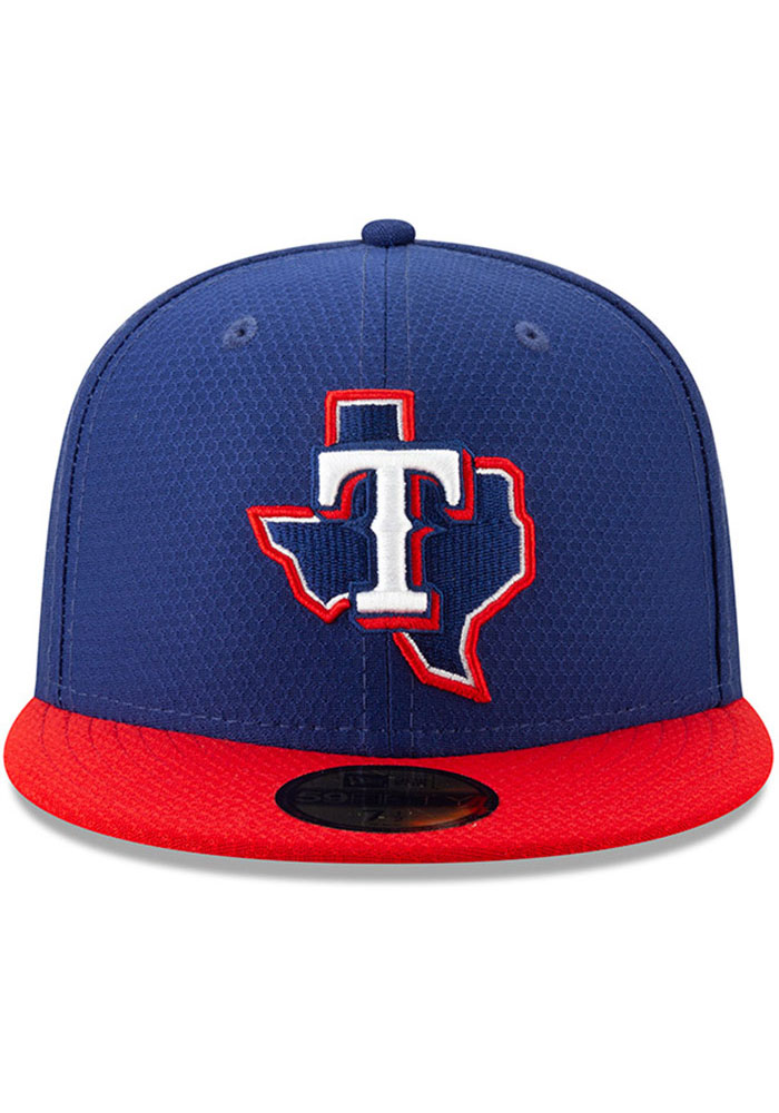 New Era Texas Rangers Mens Blue Batting Practice 2019 59FIFTY Fitted Hat - Image 2