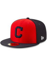 New Era Cleveland Indians Navy Blue Batting Practice 2019 JR 59FIFTY Youth Fitted Hat