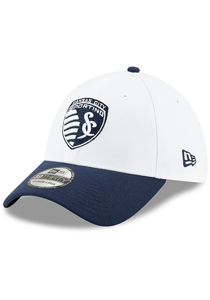 New Era Sporting Kansas City Mens Navy Blue MLS 2019 Pride Celebration 39THIRTY Flex Hat - Image 1