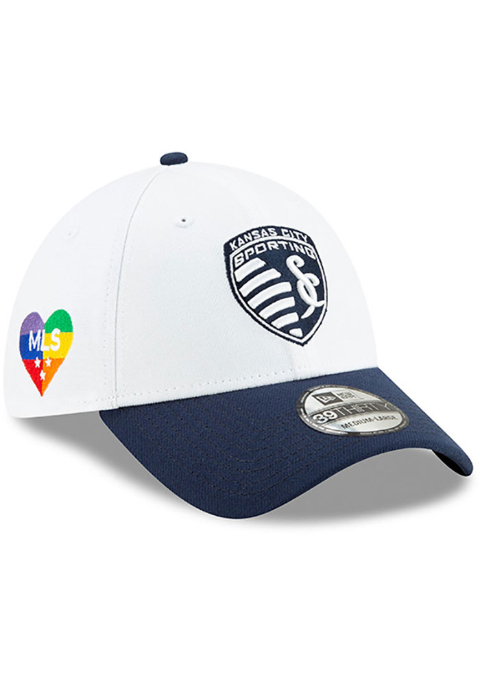 New Era Sporting Kansas City Mens Navy Blue MLS 2019 Pride Celebration 39THIRTY Flex Hat - Image 2