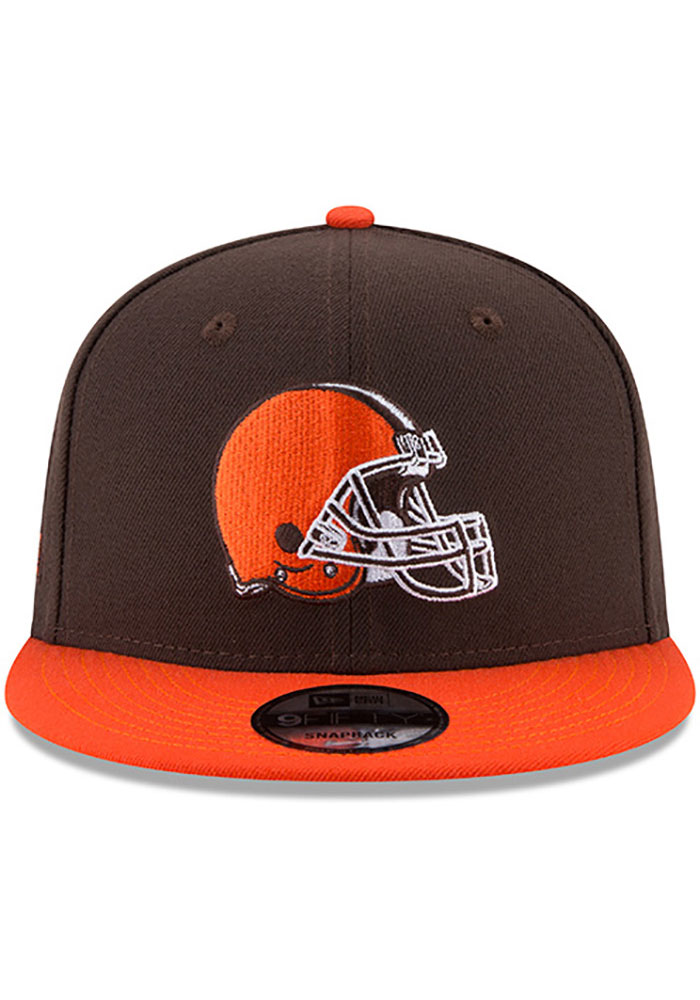 New Era Cleveland Browns Brown 2T Basic 9FIFTY Mens Snapback Hat - Image 3
