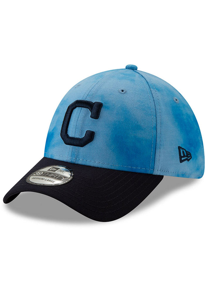 New Era Cleveland Indians Mens Blue 2019 Father's Day 39THIRTY Flex Hat - Image 1